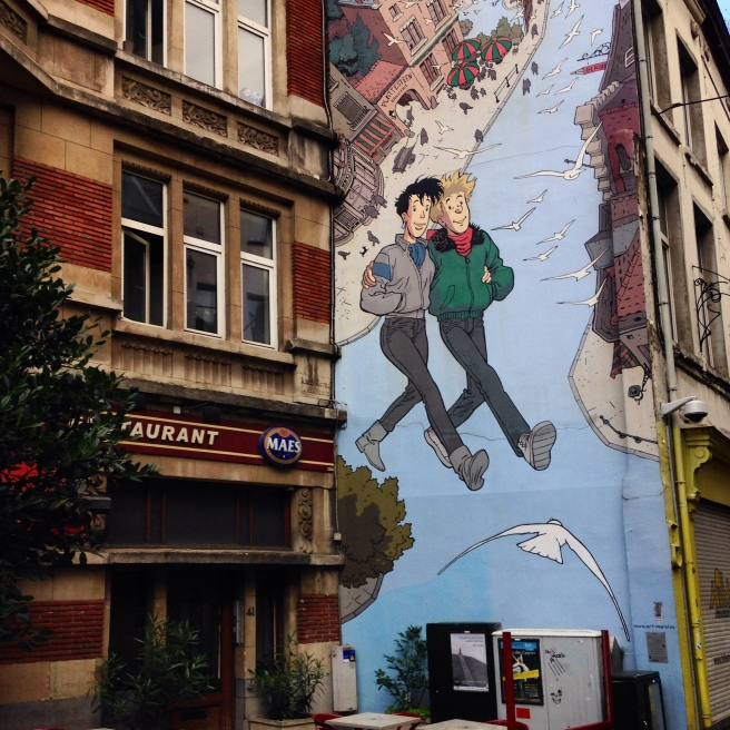 mural, brussels, comic books